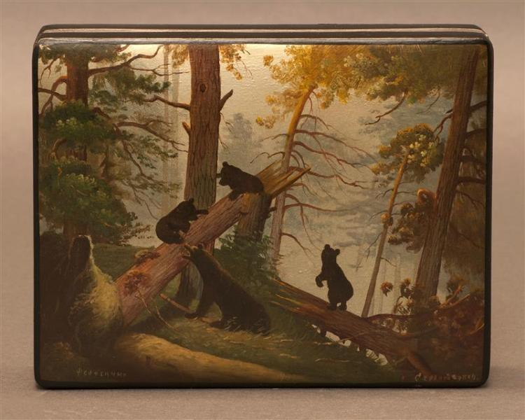 RUSSIAN LACQUER BOX Rectangular. The hinged cover illustrating