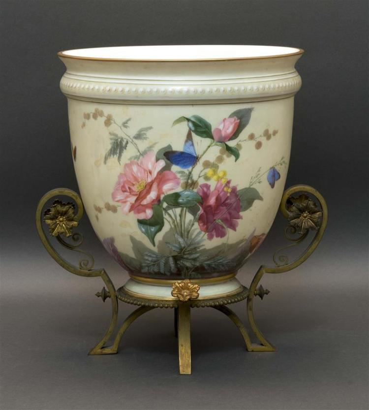 FRENCH ORMOLU-MOUNTED OPALINE GLASS JARDINIÈRE Urn form. Hand painted with flowers and butterflies against a pale green ground. Moun...