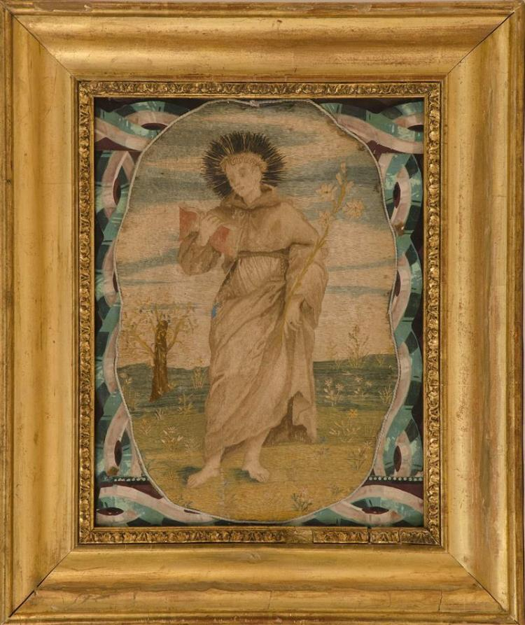 SPANISH COLONIAL-STYLE NEEDLEWORK FRAGMENT DEPICTING BLESSED FRANCIS PATRIZZI OF SIENA Depicting a standing male figure in Francisca...