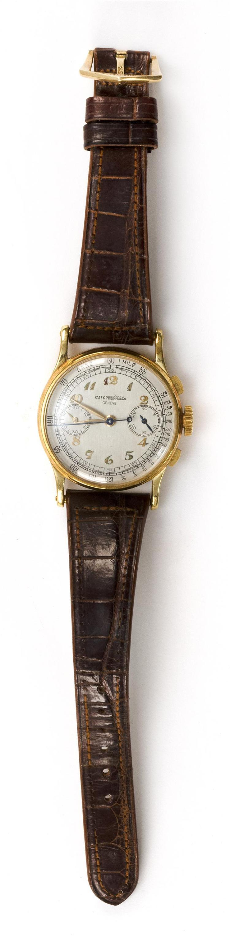 PATEK PHILIPPE 18KT GOLD CHRONOGRAPH WRIST WATCH Case number 646707. REF. 1436. Movement number 863789. Nickel-finished twenty-five...