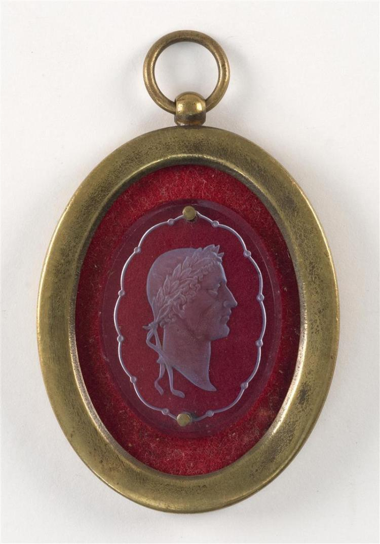 GLASS INTAGLIO CAMEO DEPICTING NAPOLEON IN PROFILE Oval, and transparent blue. In the classical style with a laurel wreath crown. Mo...