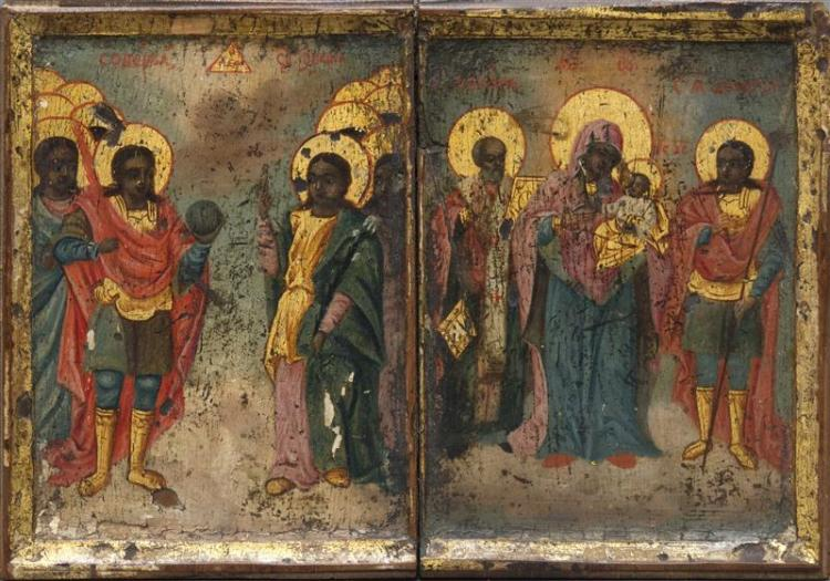 RUSSIAN TRAVELING ICON The left scene depicting standing figures, one holding an orb and the other pointing heavenward. The right sc...