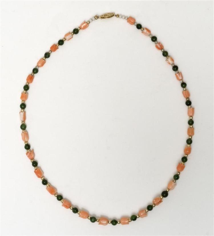 GREEN JADE, PINK CORAL, AND GOLD BEAD NECKLACE With carved coral beads in flower blossom form, round jade beads, and gold bead space...