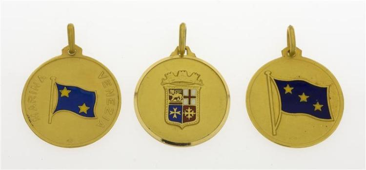 THREE ITALIAN 18KT GOLD MILITARY PENDANTS Each with enameled flag. One for Marina Venezia, one for Comando di Capo del Militare Mari...