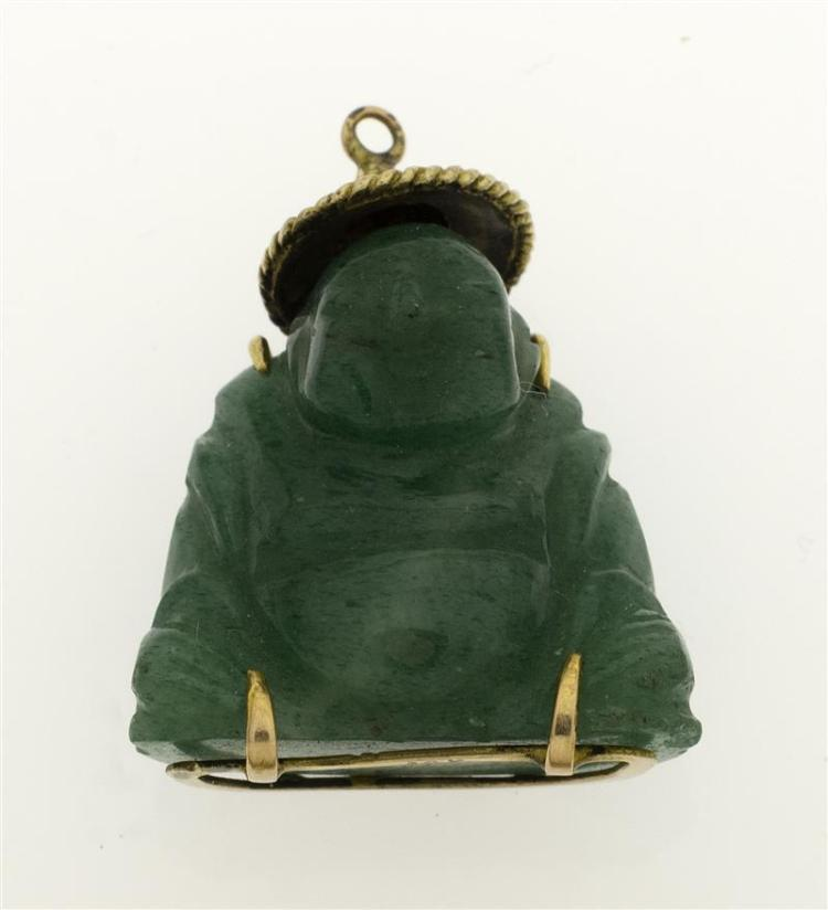 14KT GOLD-MOUNTED GREEN JADE BUDDHA-FORM PENDANT Carved in a seated position, wearing a hat and with Chinese characters on the rever...