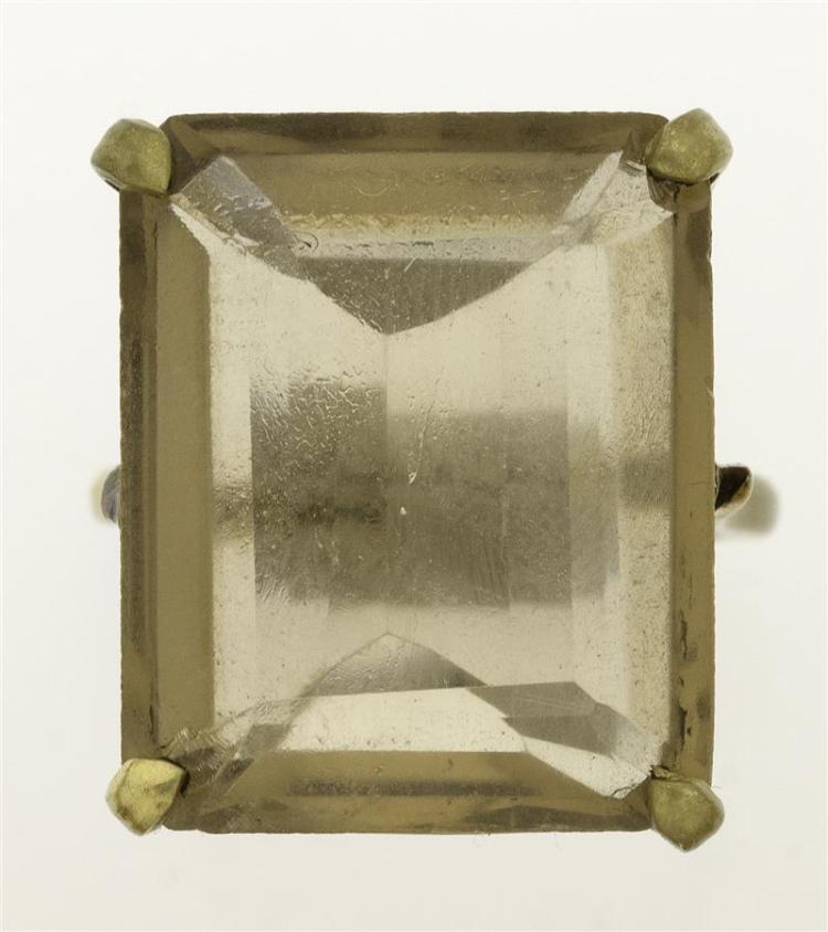 SMOKY QUARTZ COCKTAIL RING Pale color. 22 mm x 17 mm x 7.8 mm. Brass mounts. Size 7½.