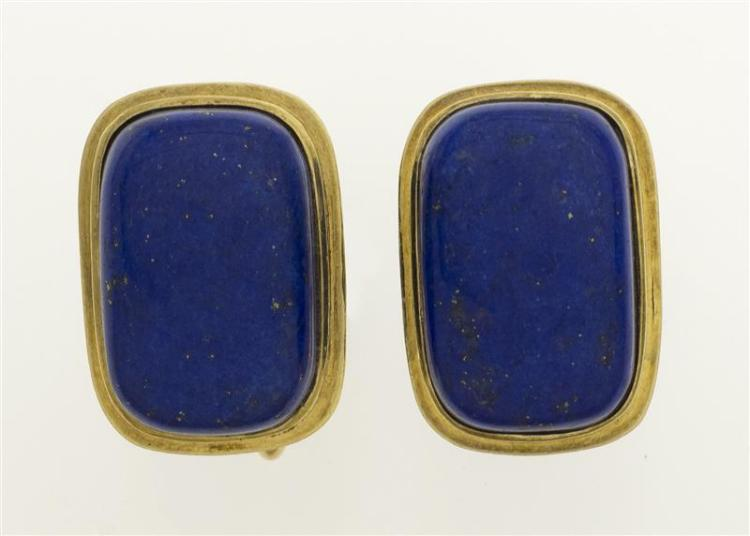 PAIR OF MID-CENTURY 14KT GOLD AND LAPIS LAZULI CUFF LINKS The lapis 18 mm x 11.6 mm x 7 mm.