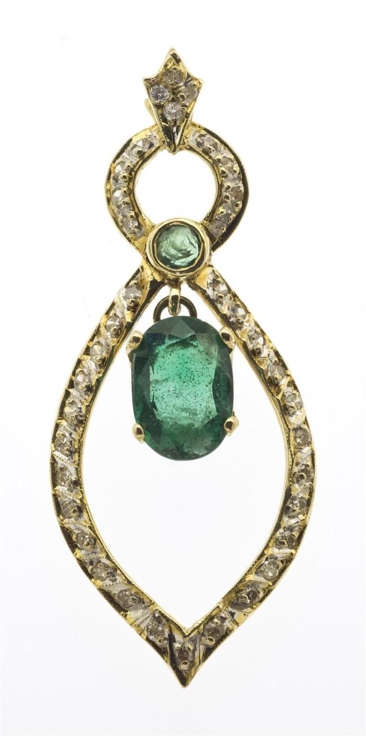 14KT GOLD, EMERALD, AND DIAMOND PENDANT Formed as a circle above a teardrop, both set with small diamonds. An 8.4 mm x 5.8 mm x 3.4...