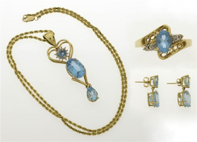 THREE PIECES OF GOLD AND TOPAZ JEWELRY 1) 10kt gold pendant set with three topaz, largest approx. 13.8 mm x 9.6 mm x 6.4 mm. Length...