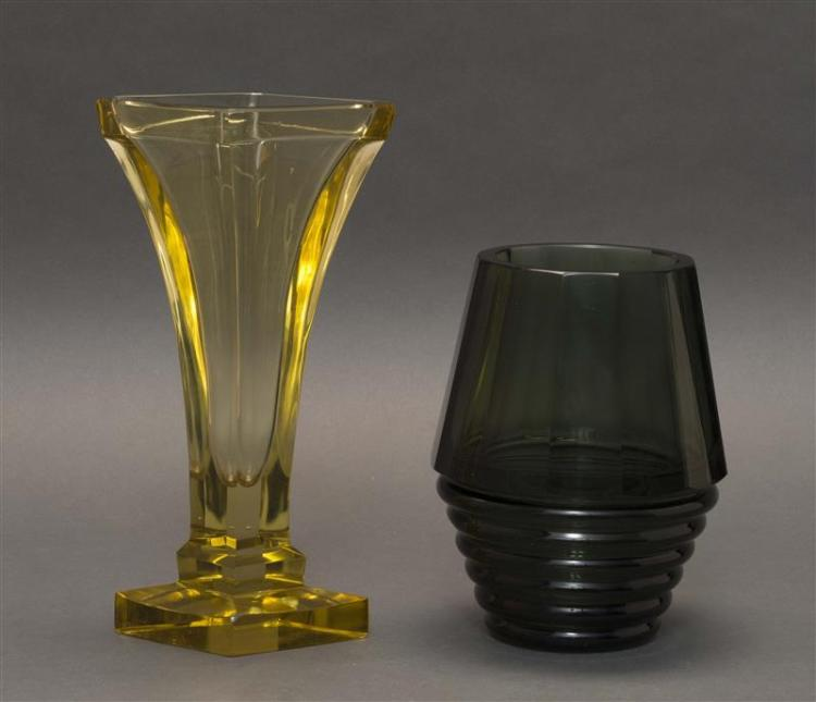 TWO ART DECO GLASS VASES Both unmarked. One yellow and formed as a tapered diamond on a stepped base, height 11.5