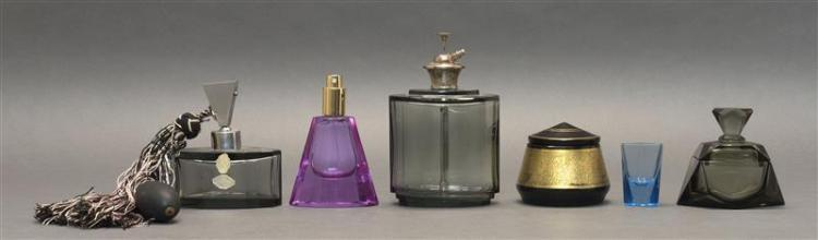 SIX PIECES OF ART DECO GLASS All unmarked. Two gray perfume bottles with original diffusers (one with original labels), heights 7