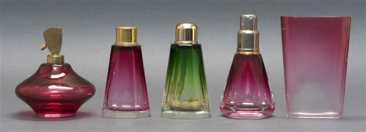 FIVE ART DECO GLASS VANITY ITEMS All glass is unmarked. Three French fragrance lamps: two with paneled and tapered bodies, one ombré...