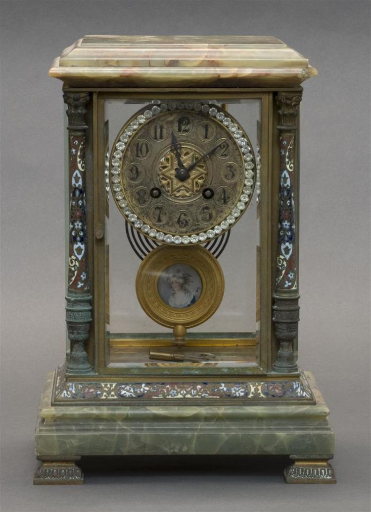 FRENCH CLOISONNÉ AND GREEN ONYX MANTEL CLOCK Beveled glass case with cloisonné pilasters and base on a stepped green onyx plinth wit...