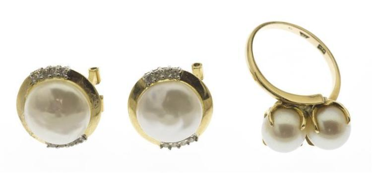 THREE PIECES OF 14KT GOLD AND CULTURED PEARL JEWELRY A bypass ring, each pearl approx. 7 mm, size 6. Together with a pair of mabé pe...