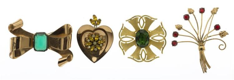 FOUR COSTUME JEWELRY PINS Three by Coro and one by Trifari. Coro pins are marked