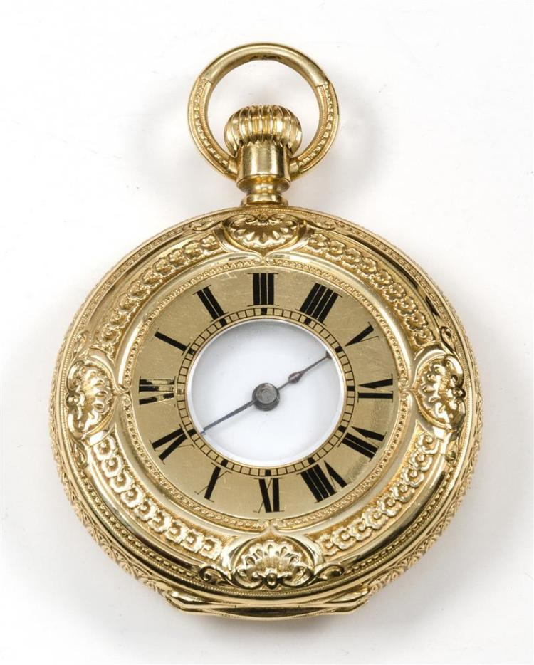 PATEK PHILIPPE 18KT GOLD LADY'S HALF-HUNTER POCKET WATCH Case and movement numbered 61959. Elaborate engraved case with enameled Rom..