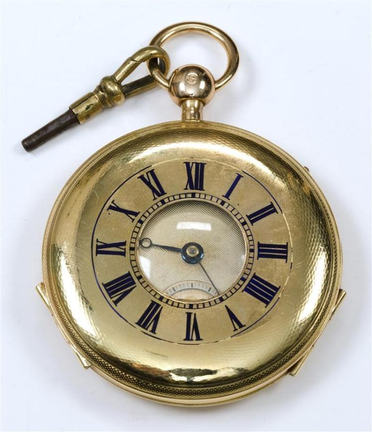 LEROY BICOLOR GOLD REPEATER HALF-HUNTER POCKET WATCH Continental hallmark. Case with enameled Roman numerals on obverse and engine-t...
