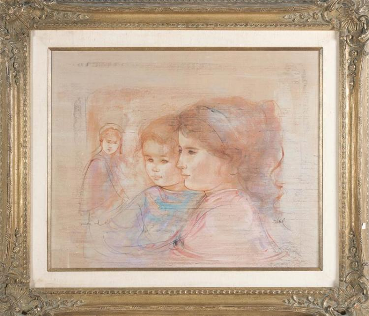 EDNA HIBEL PLOTKIN, Massachusetts/Florida, 1917-2015, Portrait of three children., Lithograph and oil on silk mounted to board, 25.2...