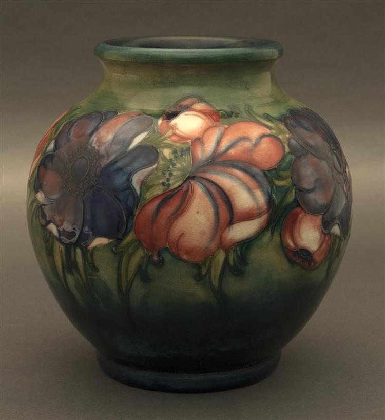 MOORCROFT ART POTTERY VASE In bulbous form, decorated in the