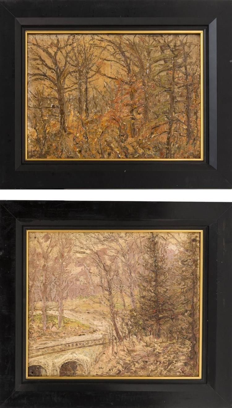 W. BILS, New York/New Jersey, Early 20th Century, Five Prospect Park impasto landscapes., Oil on panel, to 11