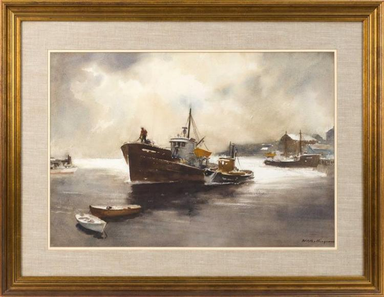 HARRY RUSSELL BALLINGER, American, 1892-1993, Fishing boat., Watercolor on paper, 20