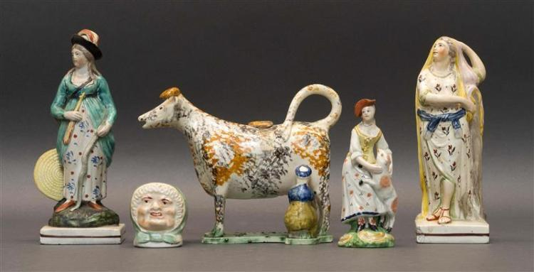 FIVE STAFFORDSHIRE POTTERY PEARLWARE FIGURES 1) Early standing figure of Hope leaning against an anchor. Height 7