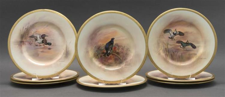 EIGHT ROYAL DOULTON HAND-PAINTED PORCELAIN PLATES Retailed by Tiffany & Co., New York. Each depicting a different game bird signed b...