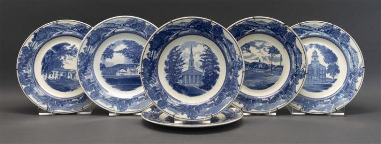 SIX WEDGWOOD TRANSFERWARE PLATES DEPICTING MIDDLEBURY COLLEGE Blue and white-decorated. Depicting Old Chapel, the Library, Battell H...