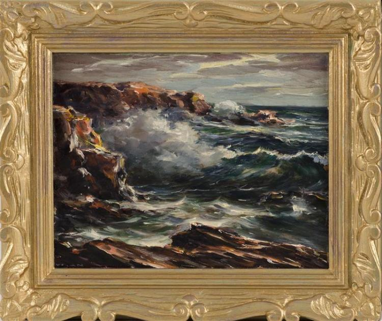 LÁSZLÓ DE NAGY, American, 1906-1944, Crashing surf., Oil on board, 8