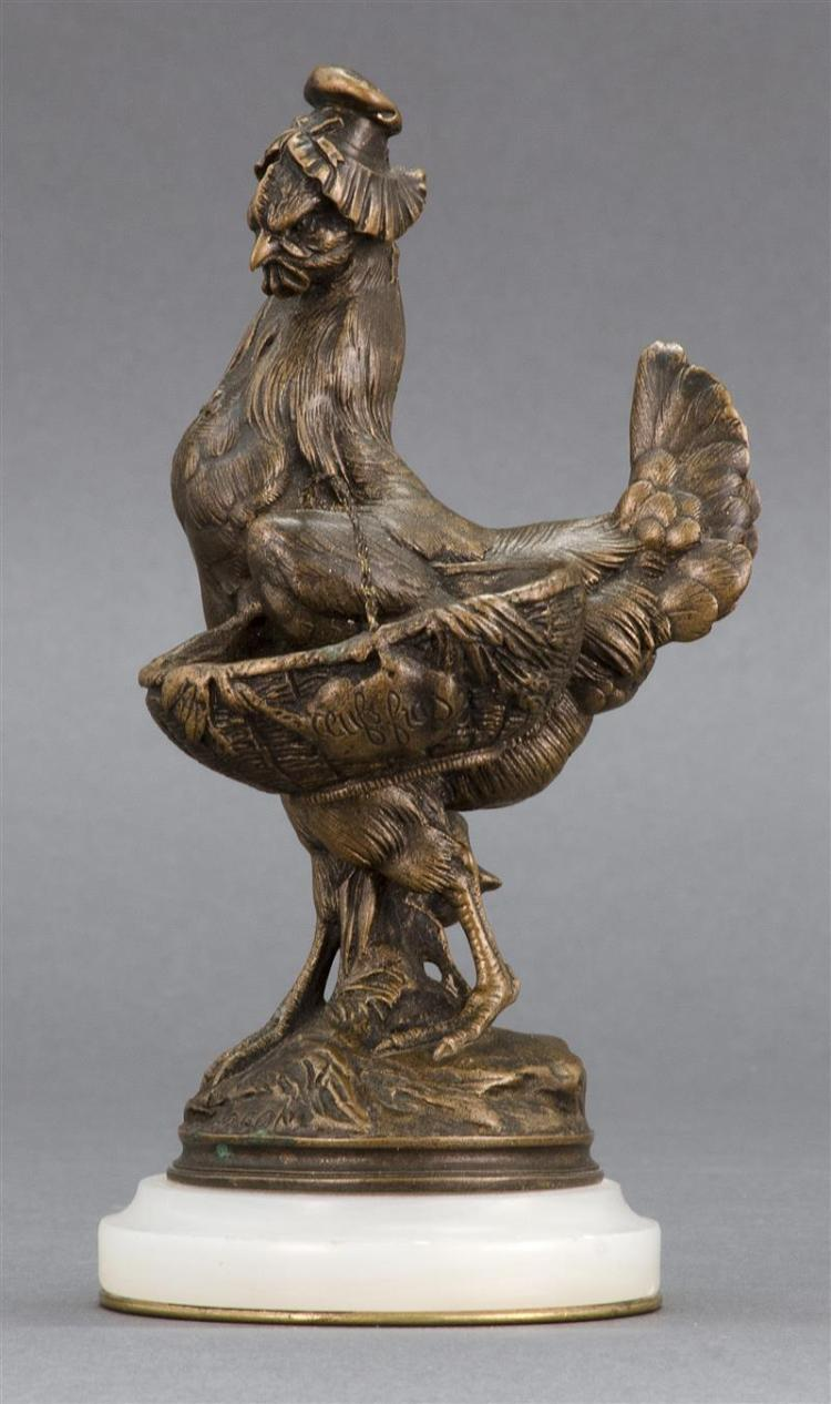 ALPHONSE ALEXANDRE ARSON, French, 1822-1882, Hen and a basket., Bronze, height inclusive of base, 7