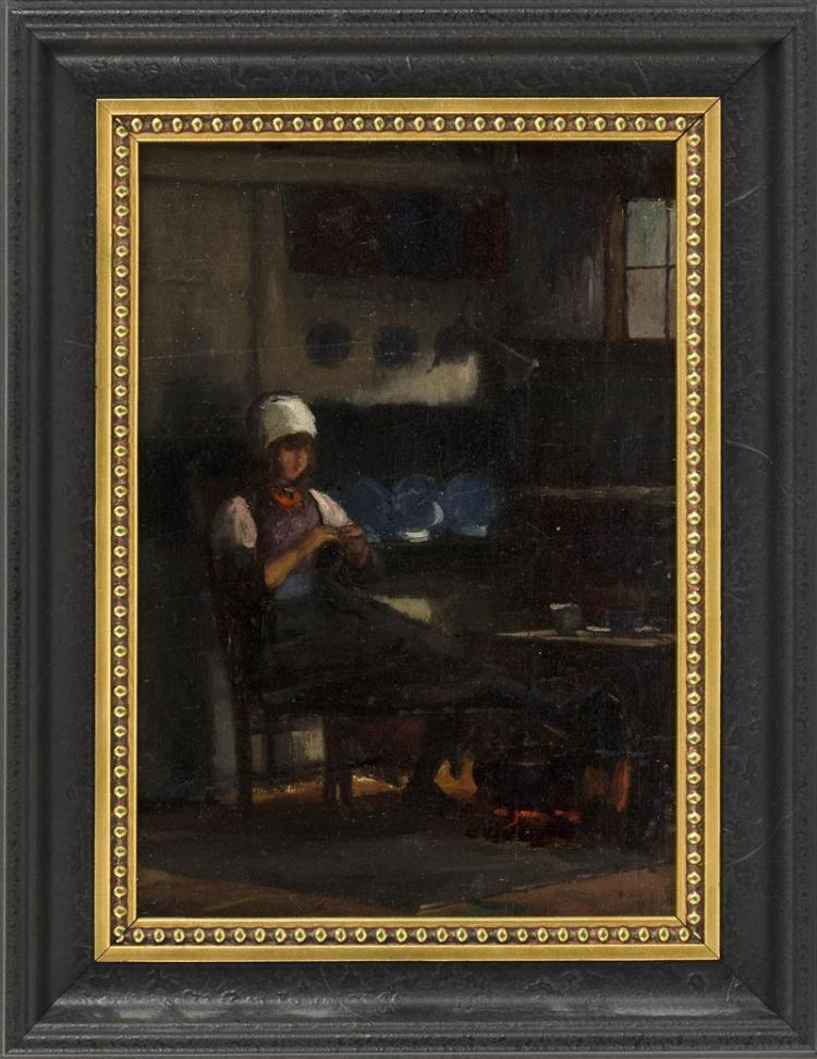 OTTO GRUNDMANN, Germany/Massachusetts, 1844-1890, Girl darning by the fire., Oil on canvas, 11