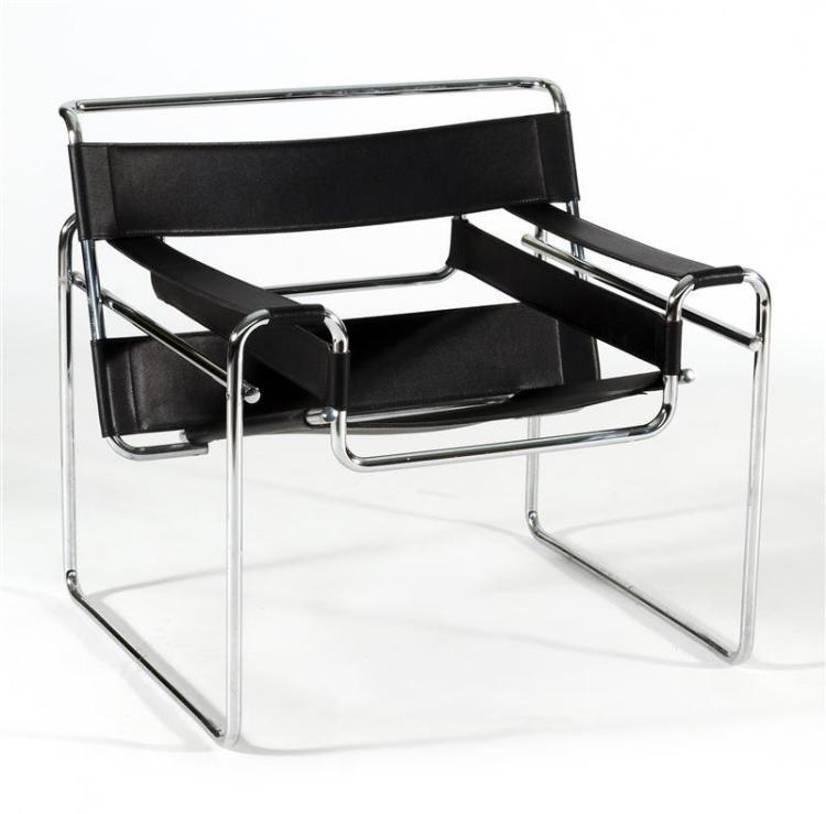 WASSILY-STYLE ARMCHAIR AFTER MARCEL BREUER With chrome frame and black vegan leather. Unmarked. Height overall 28.5
