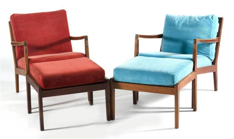 PAIR OF DANISH MODERN-STYLE TEAK ARMCHAIRS AND OTTOMANS Cushions upholstered in turquoise and rust-red corduroy. Unmarked. Heights o...