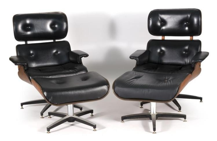 PAIR OF SIMILAR EAMES-STYLE LOUNGE CHAIRS AND OTTOMANS Both with tufted black vegan leather upholstery and bentwood frames. On metal...