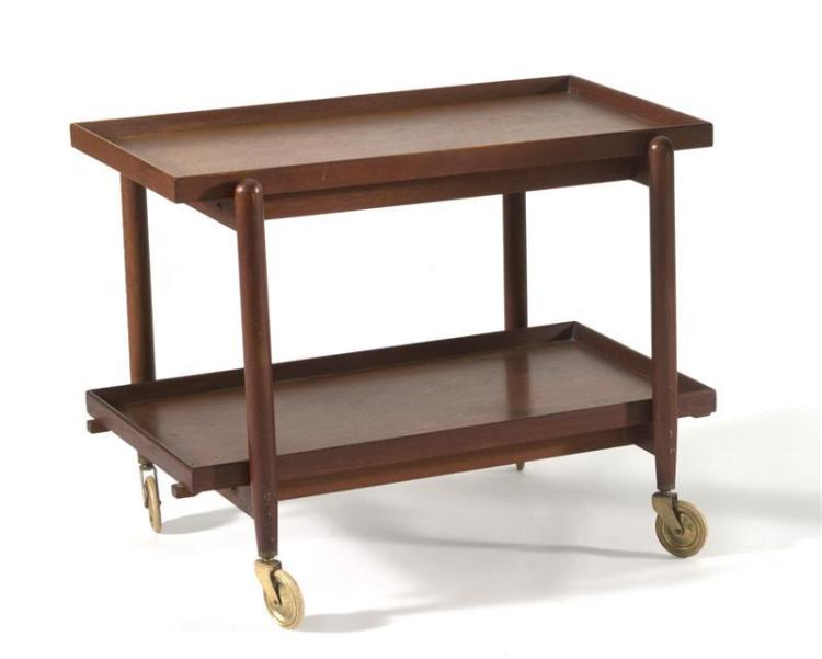 DANISH MODERN-STYLE TEAK BAR CART With two rectangular sliding shelves. On casters. Unmarked. Height 23.25