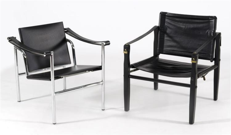 TWO SIMILAR BLACK LEATHER SAFARI CHAIRS Smaller: height of back 25