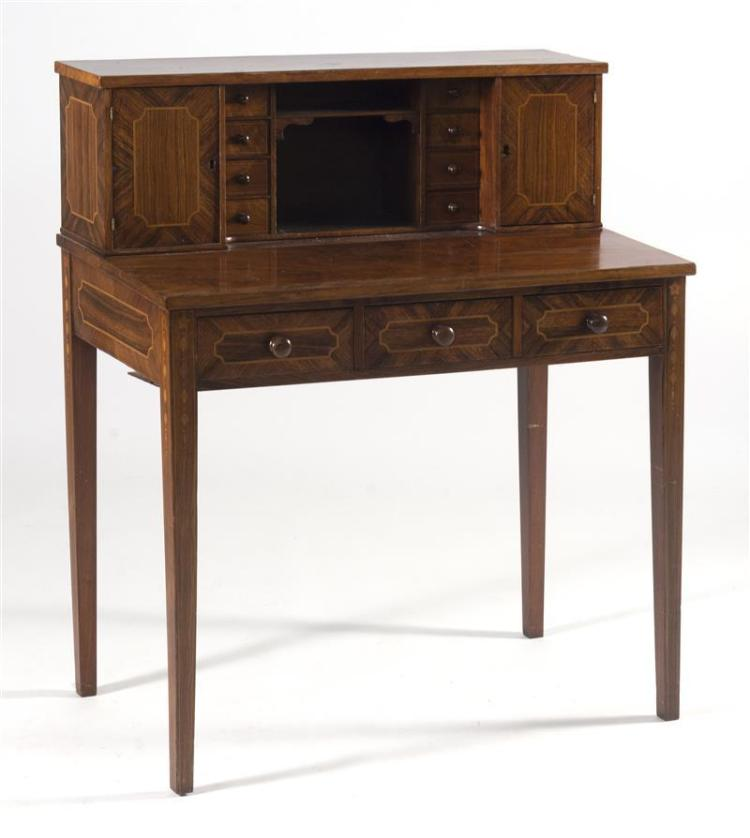 DIMINUTIVE HEPPLEWHITE-STYLE LADY'S DESK In mahogany and mahogany veneer with fruitwood inlay. Compartmented top flanked by eight sm..