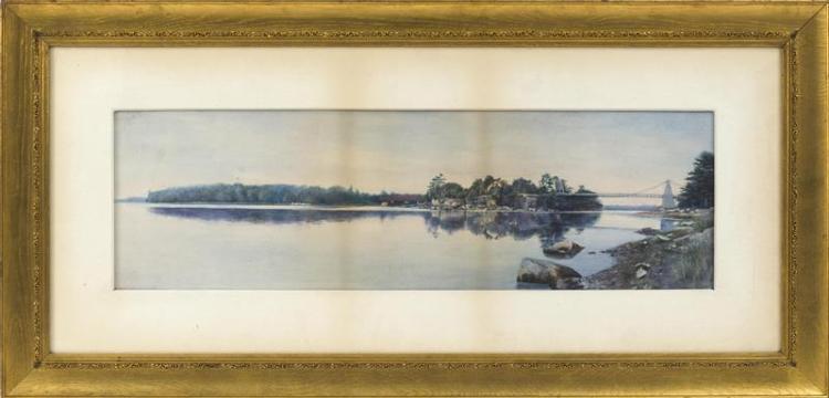 ATTRIBUTED TO FRANK THURLO, Massachusetts, 1828-1913, The Chain Bridge, Newburyport., Watercolor, 8