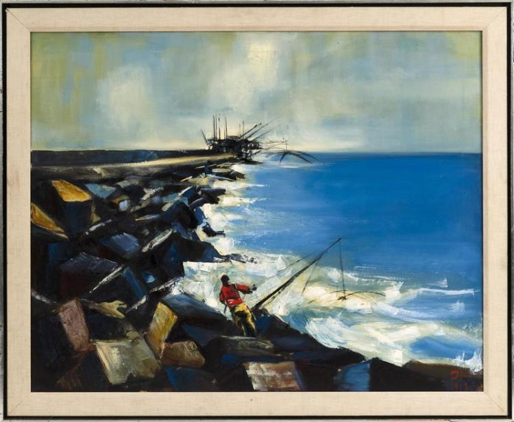 AMERICAN SCHOOL, Mid-20th Century, Fisherman by an elongated pier., Oil on canvas, 31.5