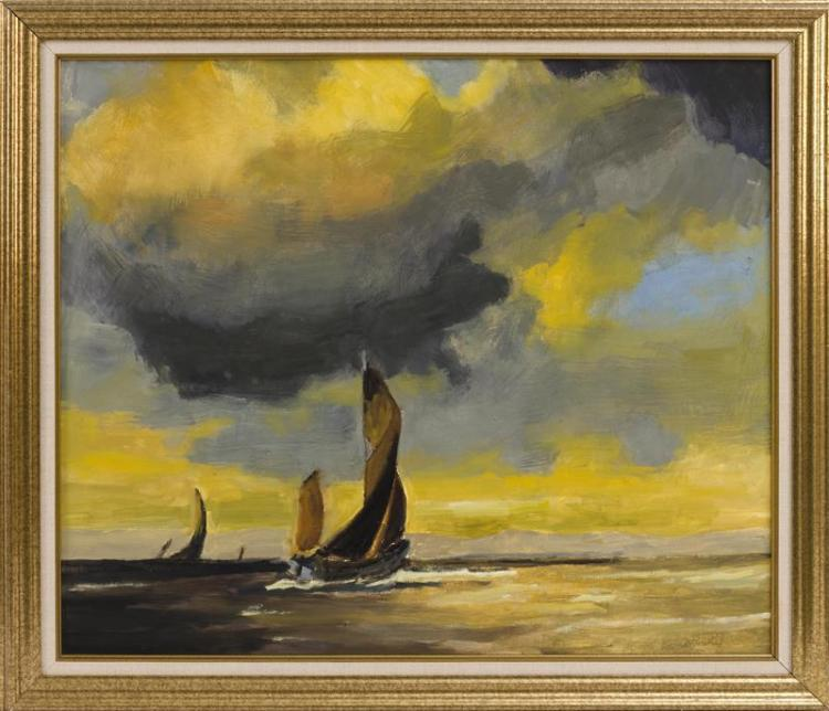 AMERICAN SCHOOL, 20th Century, Sailing under blue and yellow skies., Oil on canvas, 25