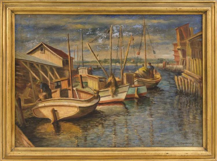 MAURICE KORANIEUSKY, New York, 20th Century, Harbor scene., Oil on canvas, 22