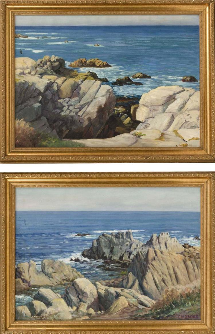 CHARLES MILLS SAGER, Kansas, Early 20th Century, Pair of coastal scenes., Oils on canvas, 18