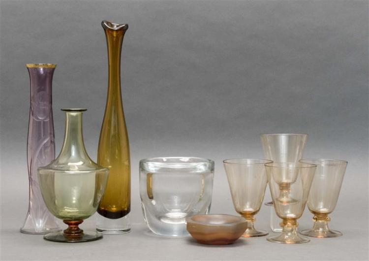 NINE PIECES OF CONTINENTAL GLASS Unmarked unless otherwise noted. Four Venetian-style amber-colored goblets, heights 5.25