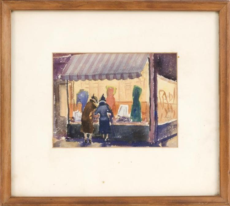 AMERICAN SCHOOL, 20th Century, Window shopping., Watercolor, 6