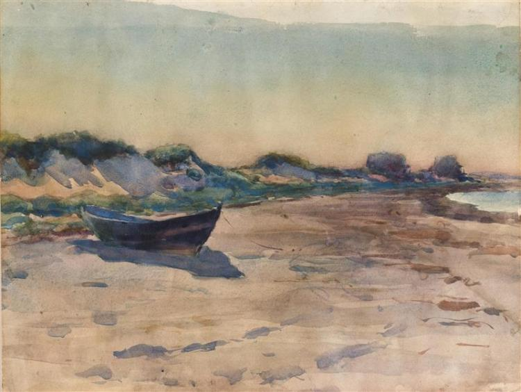 HENRY WEBSTER RICE, Massachusetts, 1853-1934, Beached dory., Watercolor on paper, 10