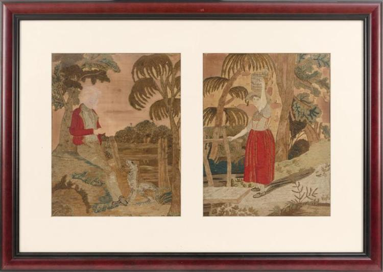 TWO NEEDLEWORK PANELS Framed as one. One depicting a gentleman and a dog, the other a woman carrying a bucket. Each 17