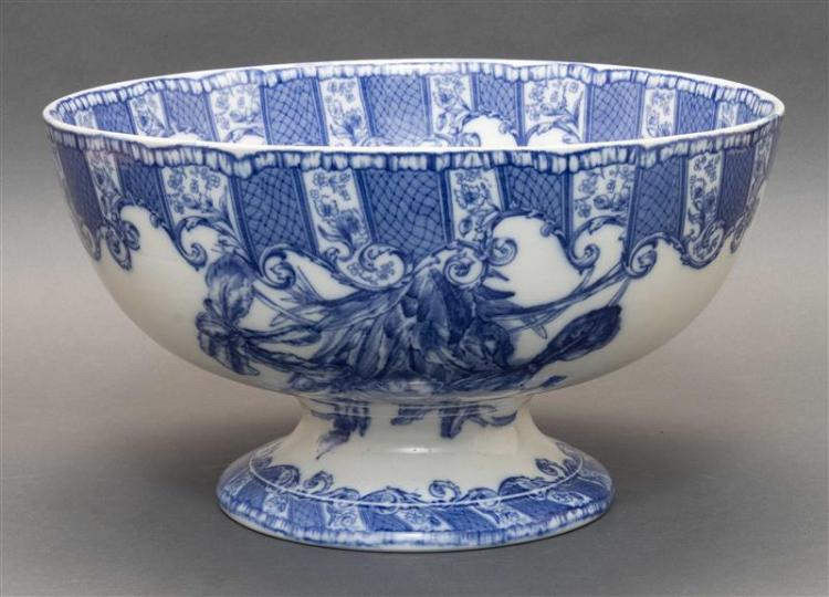 DOULTON BURSLEM TRANSFERWARE PUNCH BOWL Blue transfer decoration of irises. Height 8