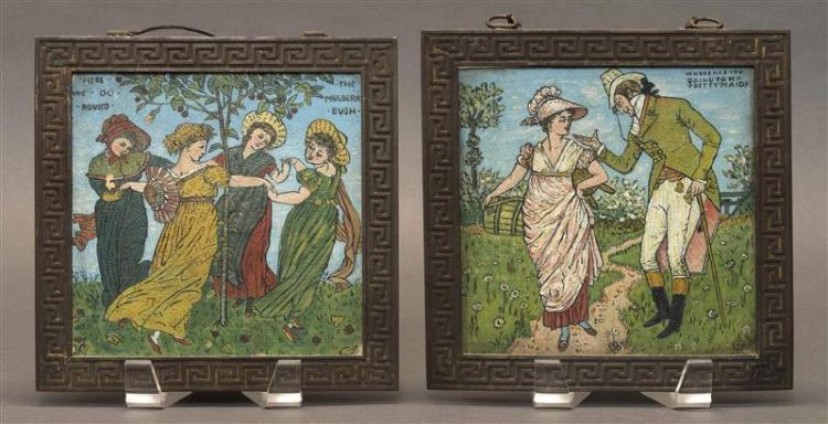TWO FRAMED CRAVEN DUNNILL & CO HAND-PAINTED OVERGLAZED CERAMIC TILES From the
