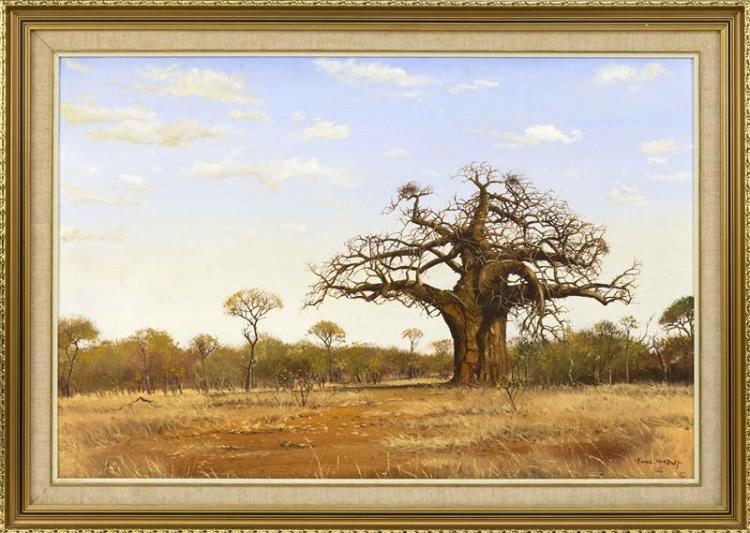 ERROL NORBURY, English, 20th Century, African landscape., Oil on canvas board, 24