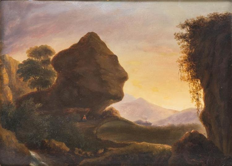 CONTINENTAL SCHOOL, Early 20th Century, Figure sitting under a head-shaped rock formation in a mountain landscape., Oil on paper lai...